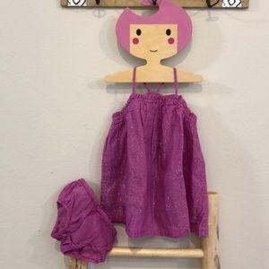 EUC 18-24m Baby Gap Budding Lilac Lurex Dress Set!